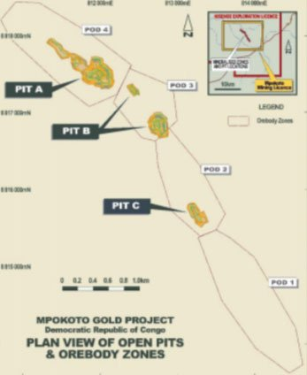 Plan view of open pits & ore body zones at Armadale Capital (AIM:ACP)'s Mpokoto Gold Project