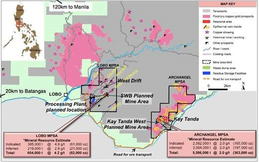 Red Mountain Mining (ASX:RMX)'s two granted mining areas Lobo MPSA and Archangel MPSA