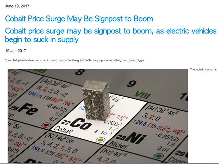 Cobalt price surge signpost boom