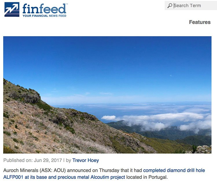 Finfeed article on diamond drill hole Portugal