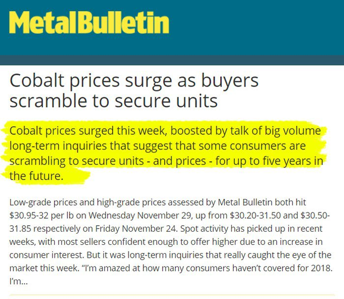 Metal Bulletin cobalt price