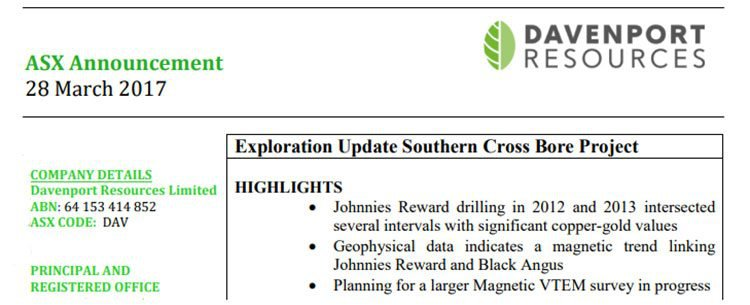 Exploration update southern cross project