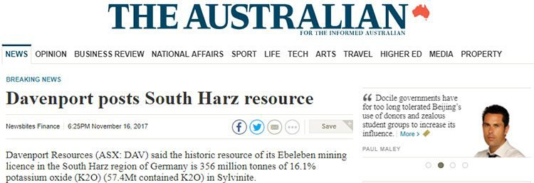 davenport resources the australian