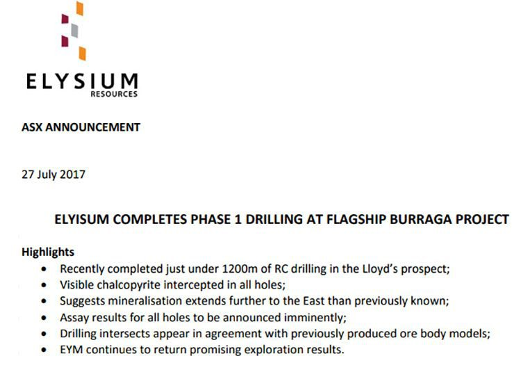 Elysium resources phase one drilling