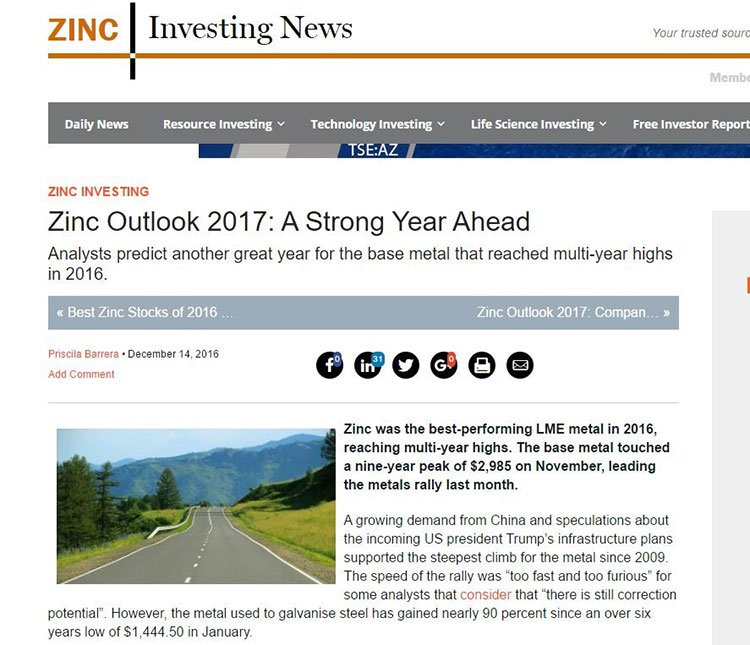 Zinc outlook 2017