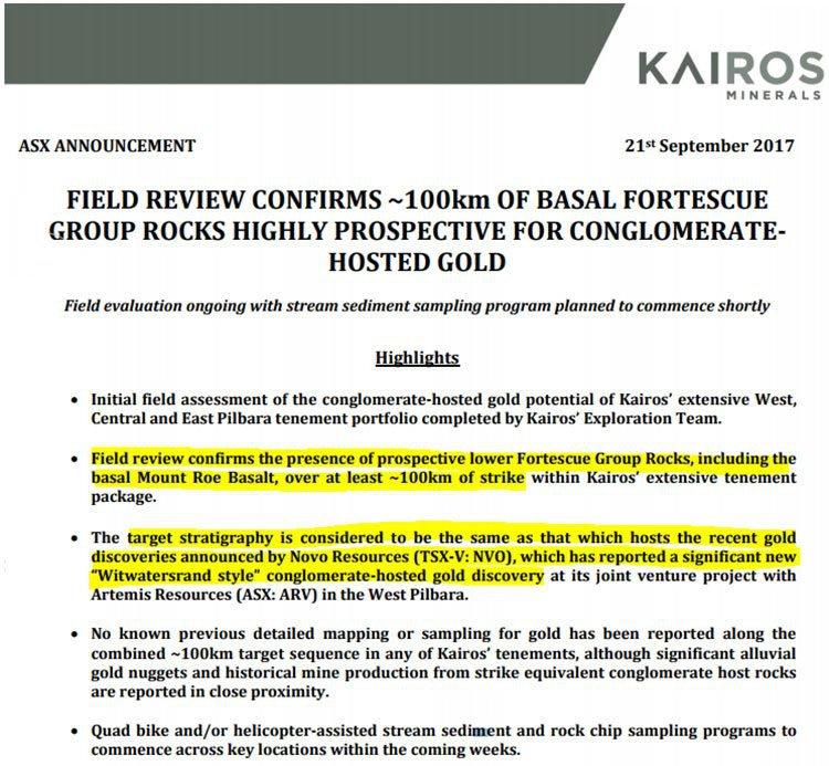 kairos minerals gold