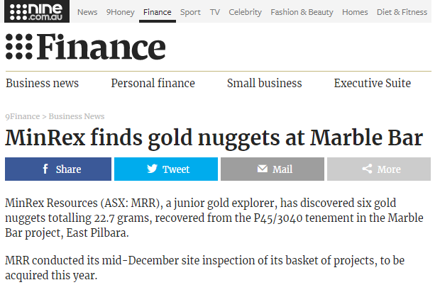 Marble bar gold discovery
