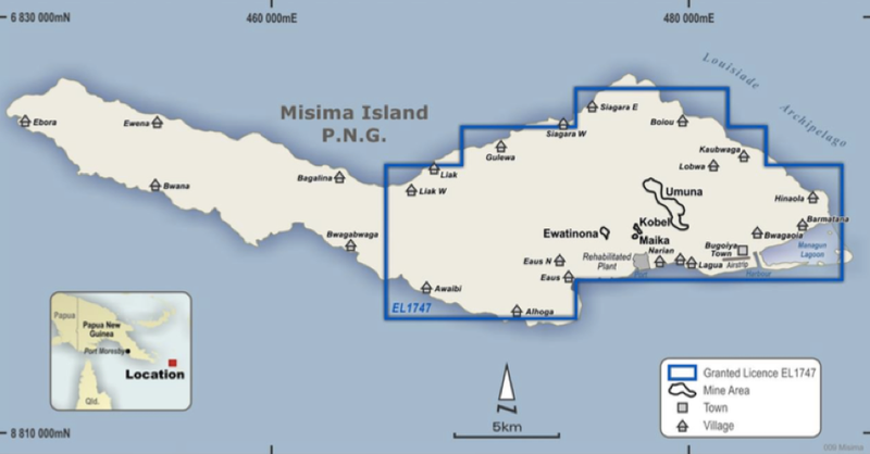 Misima Island showing Exploration Licence.