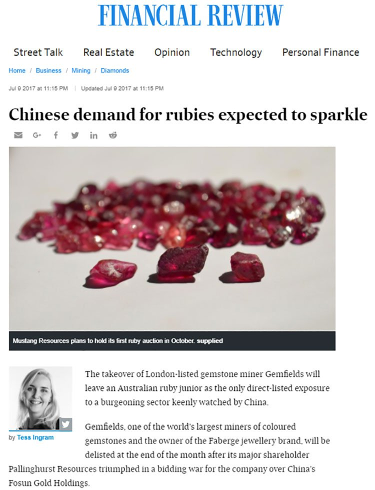 Chinese ruby demand