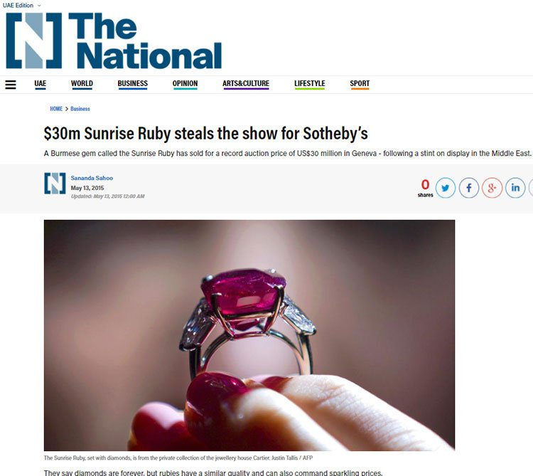 $30 million sunrise ruby