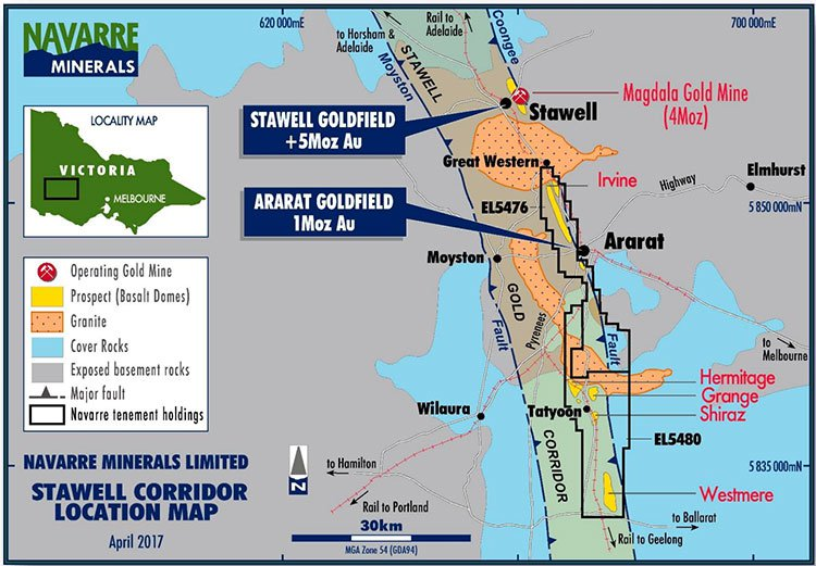 Stawell corridor location map
