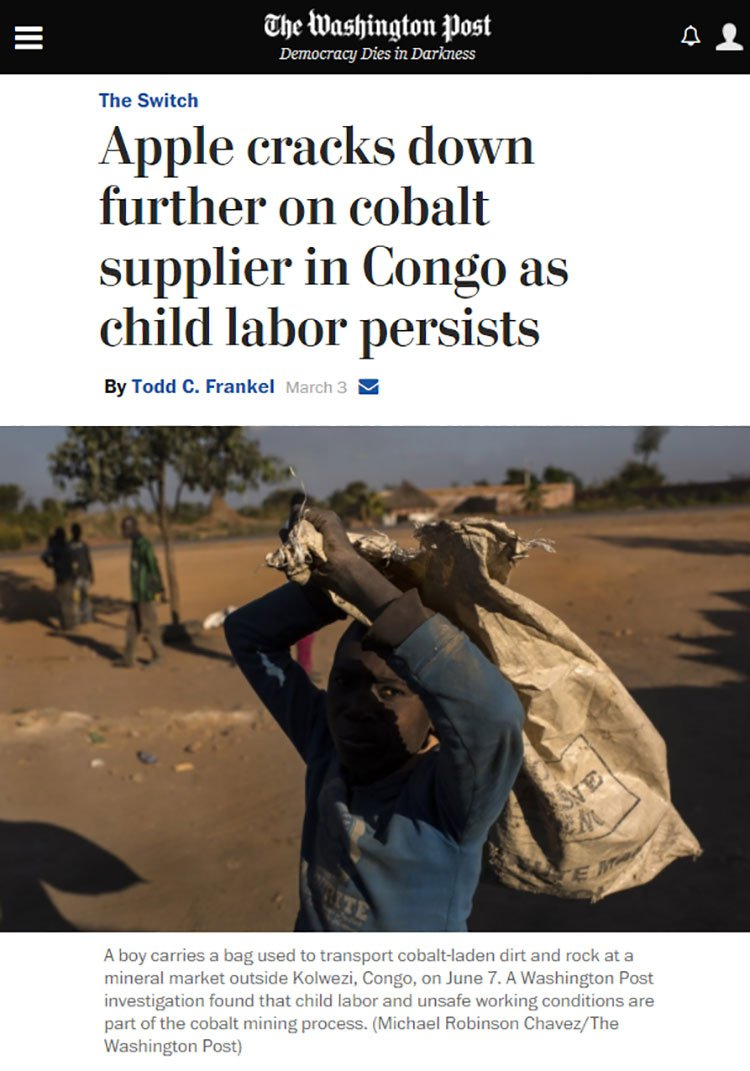 Apple cracks down on cobalt in Congo
