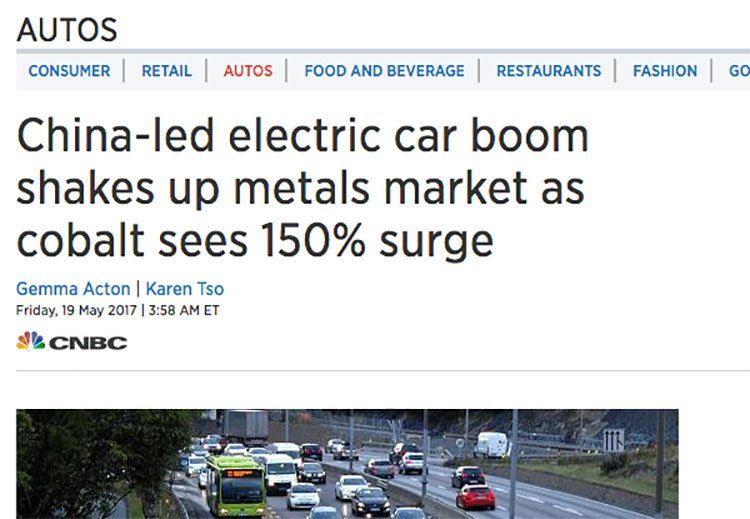 China's appetite for electric cars has seen Cobalt price surge