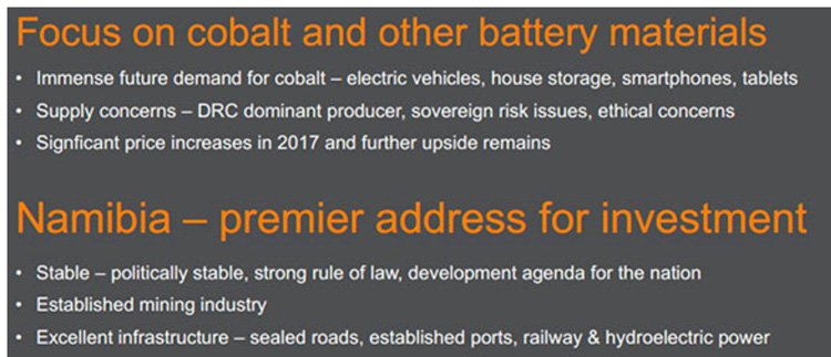 CLA's rationale for targeting cobalt in Namibia