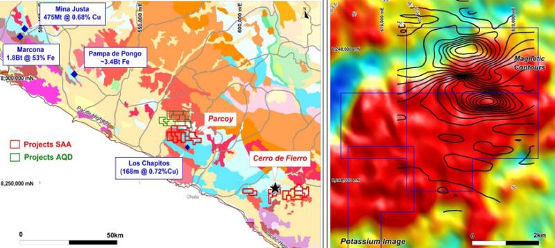 Cerro de Fierro targets, where AusQuest is exploring for copper/gold.