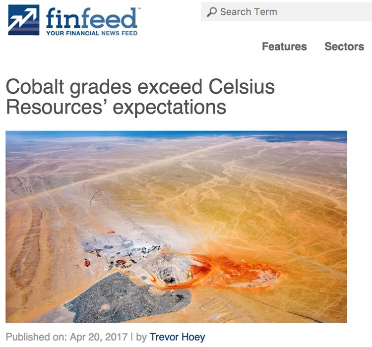 Cobalt grades exceed Celsius Resources' expectations