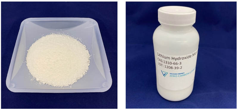 Lithium hydroxide monohydrate from the Zero Carbon LithiumTM Project