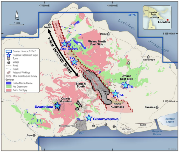 Misima Gold Project: simplified geology and exploration targets.