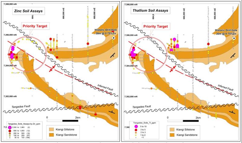 Tangadee Prospect showing priority zinc target area.
